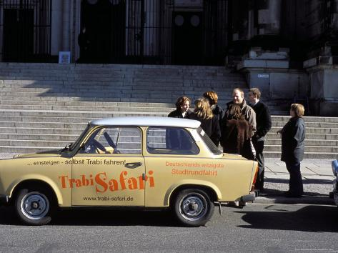 Group of People Talking Beside a Trabant Tour Car, Mitte, Berlin, Germany Photographic Print