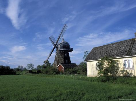 Landscape with Wooden Windmill and Two Houses in the Village of Kvarnbacken, Oland Island, Sweden Valokuvavedos