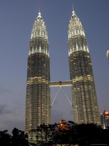 Petronas Twin Towers, One of Tallest Buildings in World, at Twilight, Kuala Lumpur, Malaysia Photographic Print