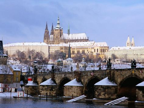 Snow Covered Prague Castle, Charles Bridge and Suburb of Mala Strana Photographic Print