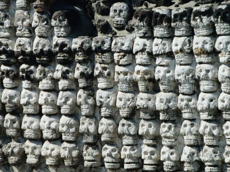 Wall of Skulls in Templo Mayor, Zocalo District, Mexico City, Mexico Photographic Print