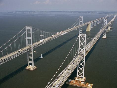 An Aerial View of the Chesapeake Bay Bridge Photographic Print