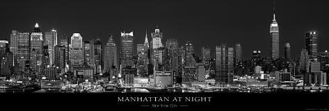 manhattan noite cidade de nova york p sters por richard
