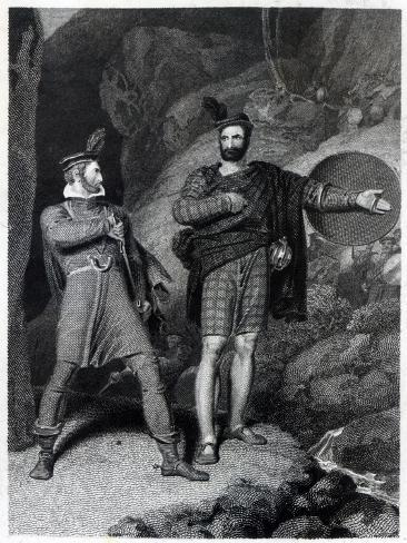 Roderick Dhu and a Clansman, 1810, from 'Lady of the Lake' by Walter Scott Giclee Print