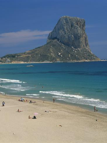 Tourists on the Beach at Calpe and the Penon De Ifach, in Valencia, Spain, Mediterranean, Europe Photographic Print