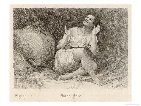 Mental Patient at la Salpetriere Sitting on Her Bed in Phase Gaie Giclee Print