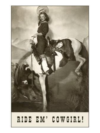 Ride Em Cowgirl Woman On Bucking Horse Posters At