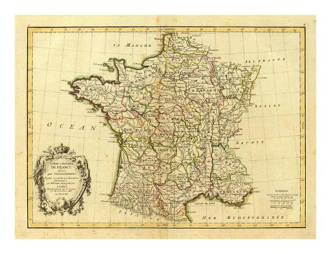 France, carte generale, c.1786 Art Print