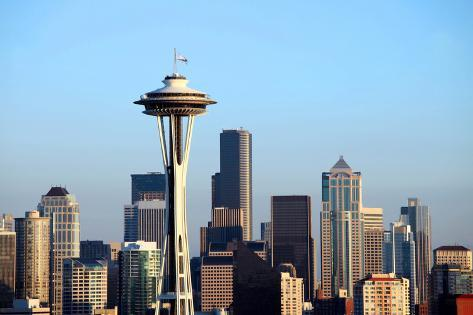 Seattle Skyline at Sunset, Washington State. Photographic Print