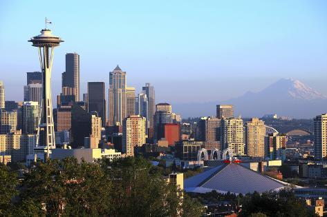 Seattle Skyline Sunset Light, Washington State. Photographic Print