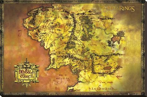 Ringarnas herre, klassisk karta, engelska Sträckt kanvastryck