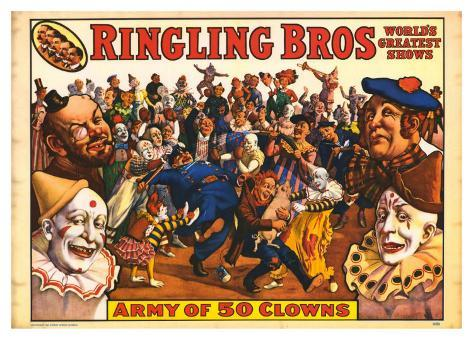 Ringling Bros - Army of 50 Clowns, 1960 Art Print