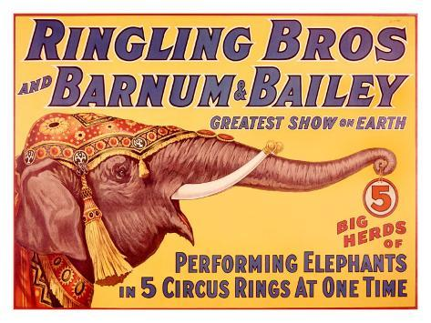Ringling Brothers Circus: Performing Elephant Giclee Print