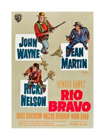 RIO BRAVO, clockwise: John Wayne, Dean Martin, Ricky Nelson on German poster art, 1959. Art Print