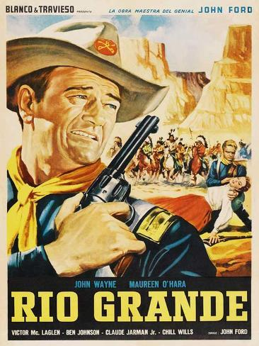 Rio Grande, Mexican Movie Poster, 1950 Art Print