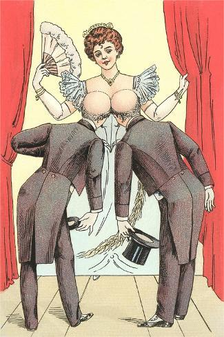 Risque Drawing, Two Gentlemen and Lady Art Print