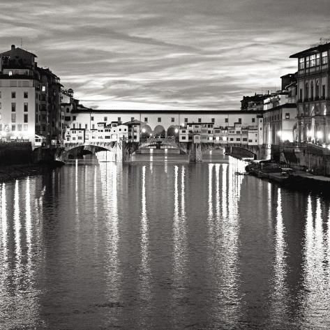 Golden Ponte Vecchio Black and White Art Print