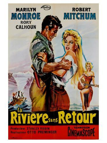 River of No Return, French Movie Poster, 1954 Art Print