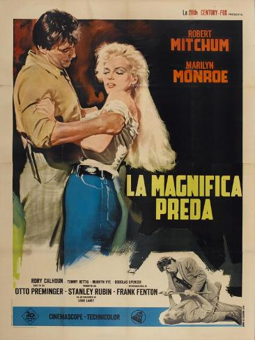 River of No Return, Italian Movie Poster, 1954 Impressão artística