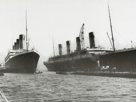 RMS Titanic and RMS Olympic, 03/02/1912. Stretched Canvas Print