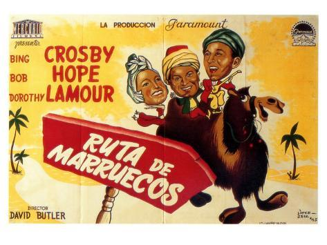 Road to Morocco, Spanish Movie Poster, 1942 Art Print