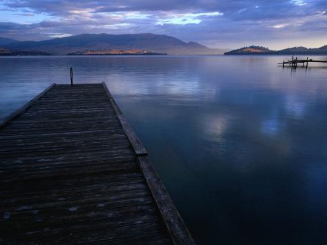 Jetty of Flathead Lake at Dusk, Montana, USA Photographic Print