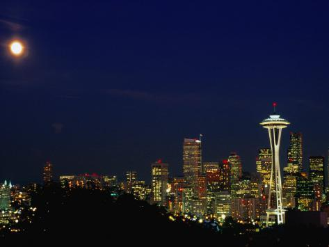 Skyline at Night with Moon and Space Needle Tower Seattle, Washington, USA Photographic Print