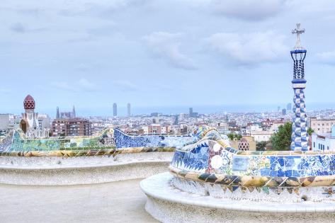Park Guell Terrace, Barcelona, Spain Photographic Print