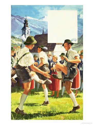 The Schuhplattler Dance from Austria Giclee Print