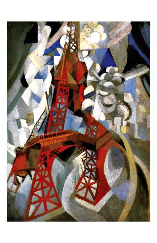 Red Eiffel Tower Giclee Print