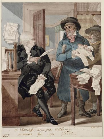 A Bailiff and And Attorney - a Match for the Devil Lámina giclée