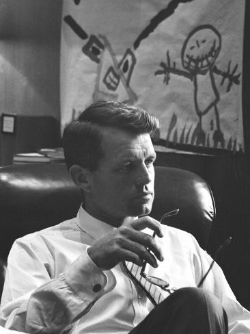 Robert F. Kennedy Sitting in Office in Front of Child's Painting Photographic Print