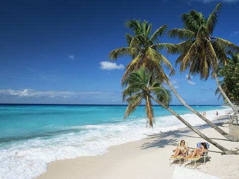 Sunbathers on Worthing Beach, on the South Coast, Christ Church, Barbados Photographic Print