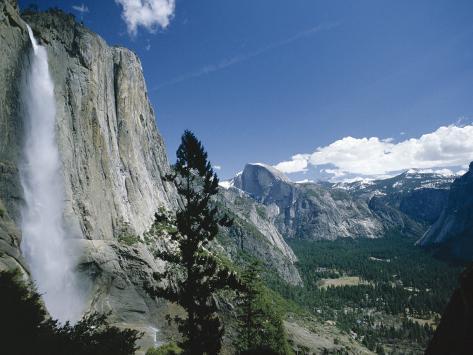 Upper Yosemite Falls Cascades Down the Sheer Granite Walls of Yosemite Valley Photographic Print