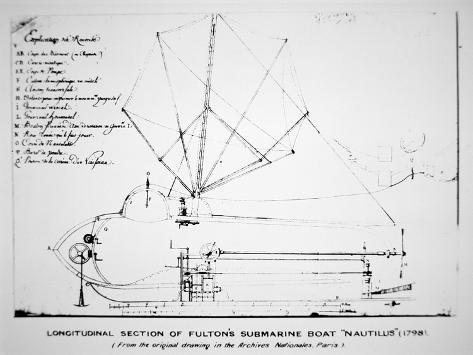 longitudinal section plan of fulton s submarine nautilus 1798