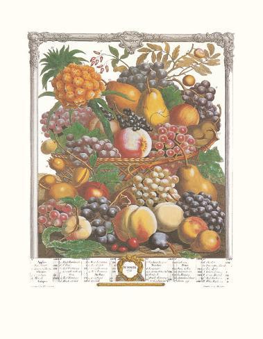 Twelve Months of Fruits, 1732, October Art Print