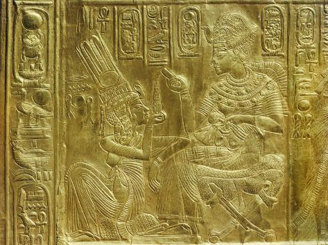 Gilt Shrine Showing the King Pouring Perfumed Liquid into the Queen's Hand, Thebes, Egypt Photographic Print