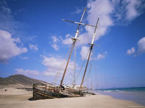 Shipwreck on the Beach, Fuerteventura, Canary Islands, Spain, Atlantic Photographic Print