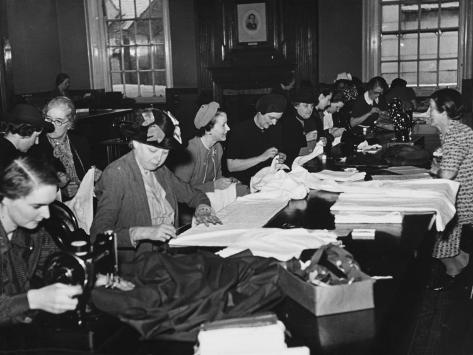 Women's Sewing Circle WWII Photographic Print