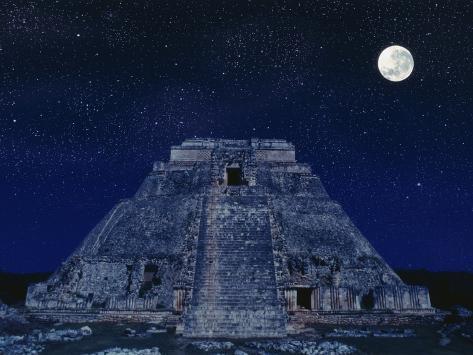 Pyramid of the Magician at Night Photographic Print