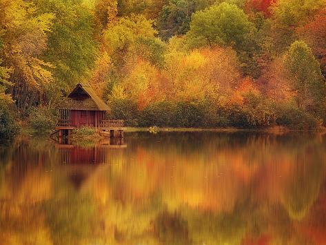 Wooden Cabin on Lake in Autumn Photographic Print