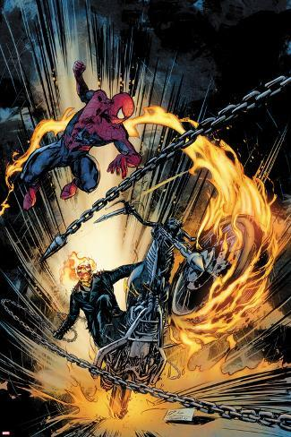 Amazing Spider Man And Ghost Rider Motorstorm No1 Cover Posters By