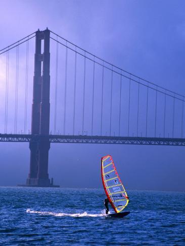 Sailboarder and Golden Gate Bridge, San Francisco, California, USA Photographic Print