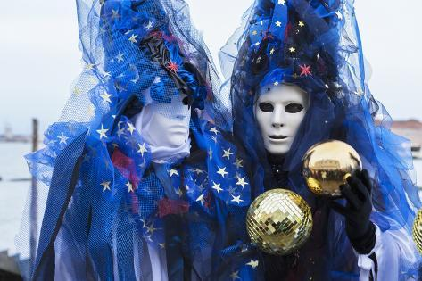 Colourful masks and costumes of the Carnival of Venice, famous festival  worldwide, Venice, Veneto,
