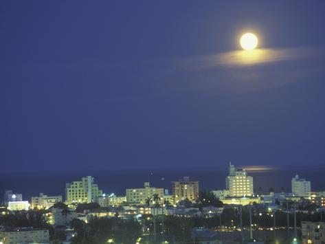 Moon over South Beach, Miami, Florida, USA Photographic Print