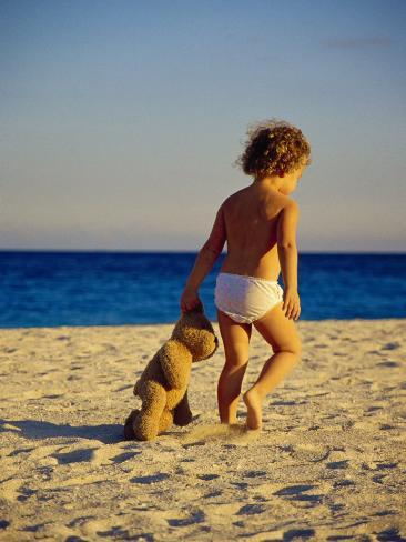 Toddler on the Beach, Miami, FL Photographic Print