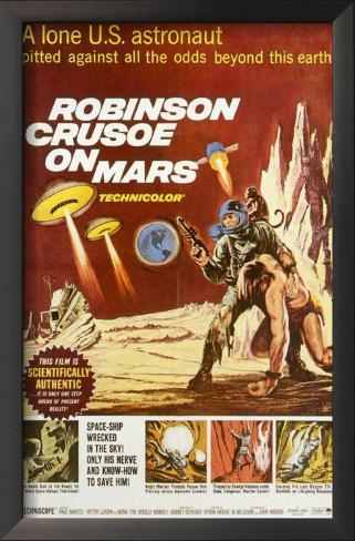 Robinson Crusoé em Marte Impressão artística emoldurada