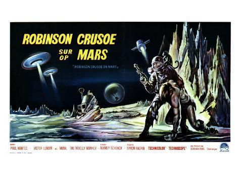 Robinson Crusoe on Mars, Belgian Movie Poster, 1964 Art Print