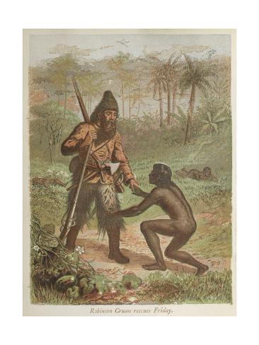 Robinson Crusoe Rescues Friday Stretched Canvas Print