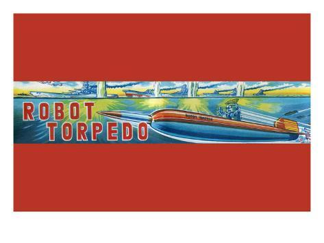 Robot Torpedo Stretched Canvas Print